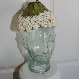 Vintage 1950's Leaf  White Flower Cone Shaped Hat